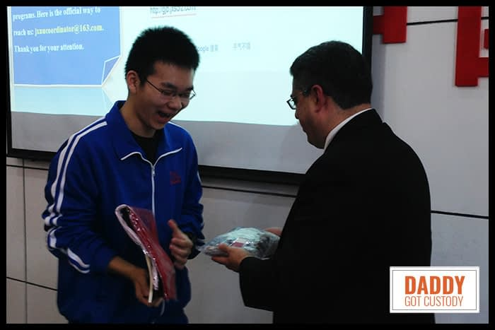 Presenting a Gift to our Student Host Blair